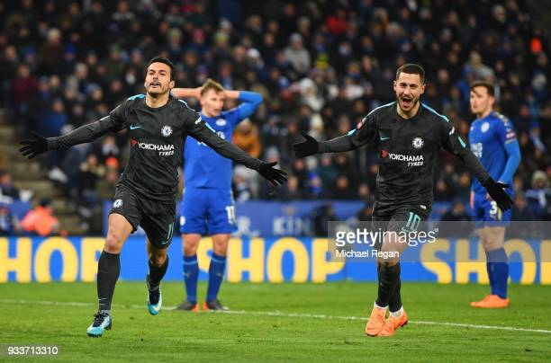 Pedro of Chelsea celebrates as he scores their second goal with Eden Hazard during The Emirates FA Cup Quarter Final match between Leicester City and...