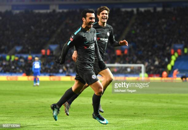 Pedro of Chelsea celebrates as he scores their second goal with Marcos Alonso during The Emirates FA Cup Quarter Final match between Leicester City...