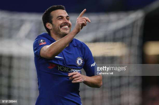 Pedro of Chelsea celebrates during The Emirates FA Cup Fifth Round match between Chelsea and Hull City at Stamford Bridge on February 16 2018 in...