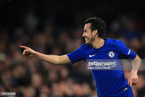 Pedro of Chelsea celebrates during the FA Cup 5th Round match between Chelsea and Hull City at Stamford Bridge on February 16 2018 in London England