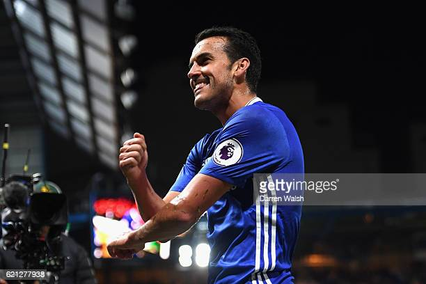 Pedro of Chelsea celebrates scoring his sides fifth goal during the Premier League match between Chelsea and Everton at Stamford Bridge on November 5...