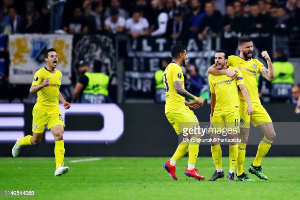 Pedro of Chelsea celebrates scoring his sides first goal during the UEFA Europa League Semi Final First Leg match between Eintracht Frankfurt and...