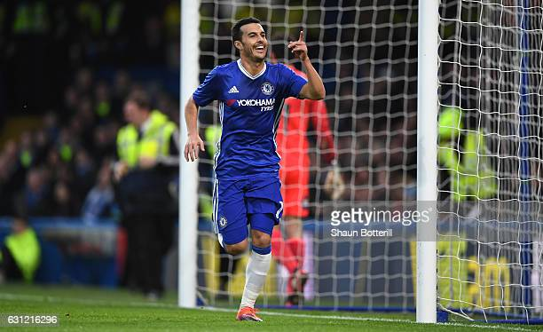 Pedro of Chelsea celebrates scoring his sides first goal during The Emirates FA Cup Third Round match between Chelsea and Peterborough United at...