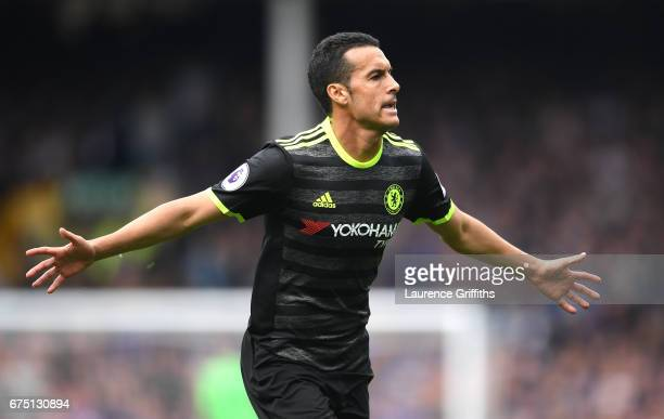 Pedro of Chelsea celebrates scoring his sides first goal during the Premier League match between Everton and Chelsea at Goodison Park on April 30...