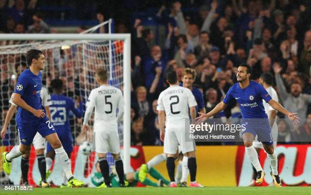Pedro of Chelsea celebrates scoring his sides first goal during the UEFA Champions League Group C match between Chelsea FC and Qarabag FK at Stamford...