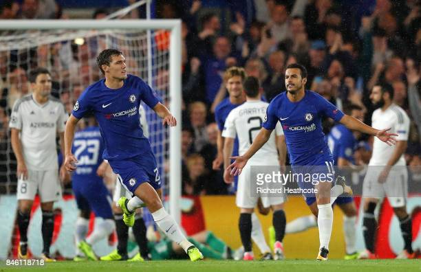 Pedro of Chelsea celebrates scoring his sides first goal with Andreas Christensen of Chelsea during the UEFA Champions League Group C match between...