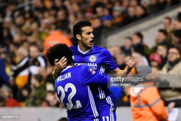 Pedro of Chelsea celebrates scoring his sides first goal with Willian of Chelsea during The Emirates FA Cup Fifth Round match between Wolverhampton...