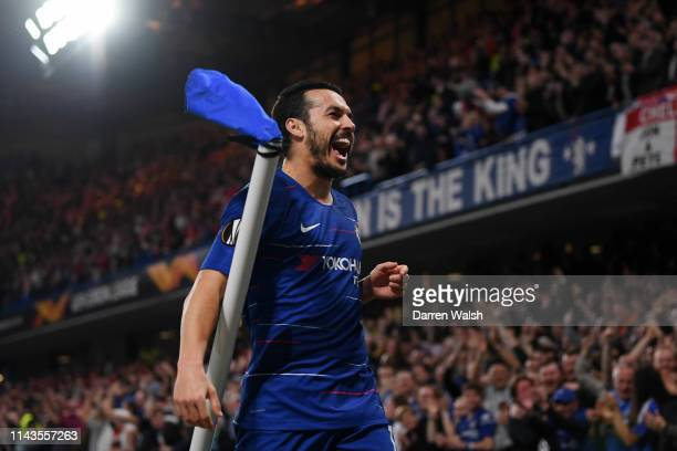 Pedro of Chelsea celebrates scoring his sides fourth goal during the UEFA Europa League Quarter Final Second Leg match between Chelsea and Slavia...