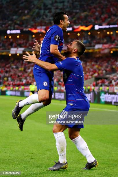 Pedro of Chelsea celebrates scoring his sides second goal with teammate Eden Hazard during the UEFA Europa League Final between Chelsea and Arsenal...