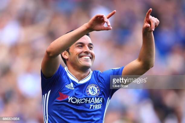 Pedro of Chelsea celebrates scoring his sides third goal during the Premier League match between Chelsea and Sunderland at Stamford Bridge on May 21...