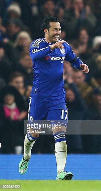 Pedro of Chelsea celebrates scoring his team's fourth goal during the Barclays Premier League match between Chelsea and Newcastle United at Stamford...