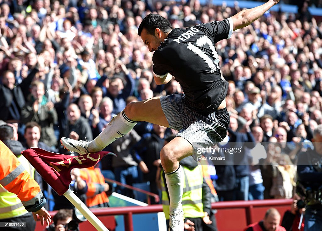 Pedro of Chelsea celebrates scoring his team's fourth goal during the Barclays Premier League match between Aston Villa and Chelsea at Villa Park on April 2, 2016 in Birmingham, England.