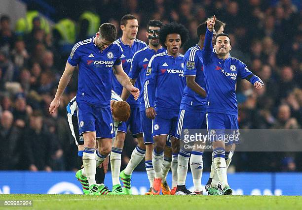Pedro of Chelsea celebrates scoring his team's fourth goal with his team mates during the Barclays Premier League match between Chelsea and Newcastle...