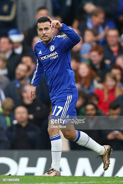 Pedro of Chelsea celebrates scoring his team's second goal during the Barclays Premier League match between Chelsea and Sunderland at Stamford Bridge...