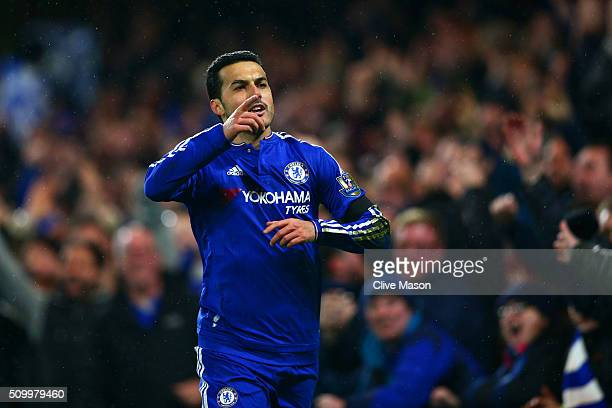 Pedro of Chelsea celebrates scoring his team's second goal during the Barclays Premier League match between Chelsea and Newcastle United at Stamford...