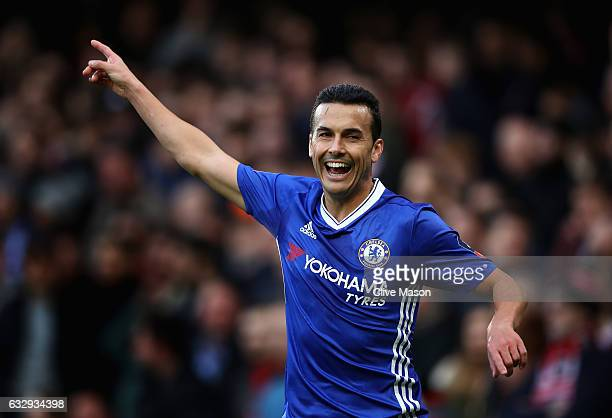Pedro of Chelsea celebrates scoring his teams second goal during the Emirates FA Cup fourth round match between Chelsea and Brentford at Stamford...