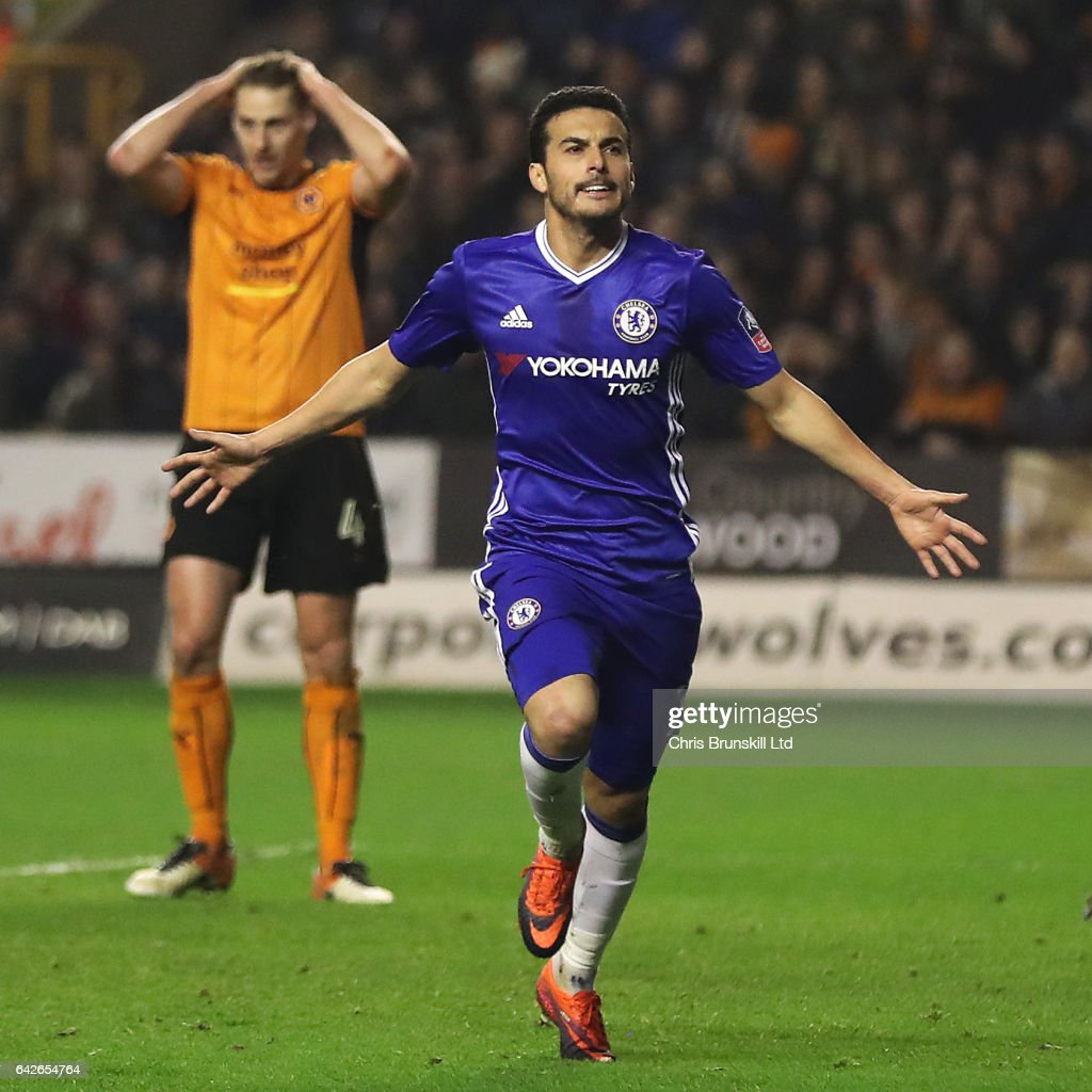 Pedro of Chelsea celebrates scoring the opening goal during the Emirates FA Cup Fifth Round match between Wolverhampton Wanderers and Chelsea at Molineux on February 18, 2017 in Wolverhampton, England.
