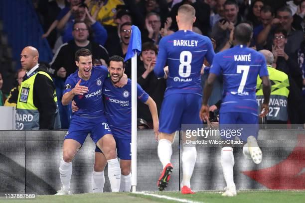 Pedro of Chelsea celebrates scoring their 1st goal with Cesar Azpilicueta Ross Barkley and N'Golo Kante during the UEFA Europa League Quarter Final...