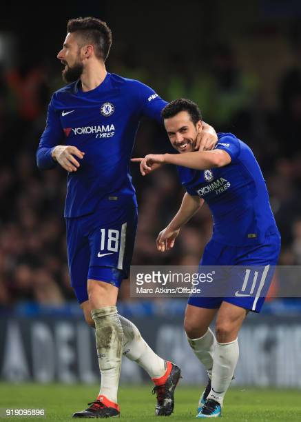 Pedro of Chelsea celebrates scoring their 2nd goal with Olivier Giroud during the FA Cup 5th Round match between Chelsea and Hull City at Stamford...