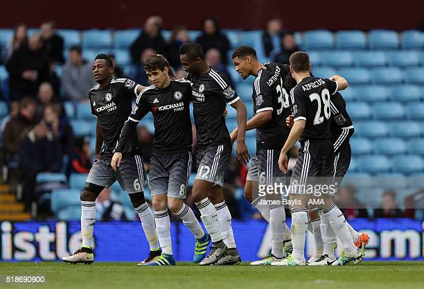 Pedro of Chelsea celebrates with his teammates after scoring a goal to make it 03 during the Barclays Premier League match between Aston Villa and...