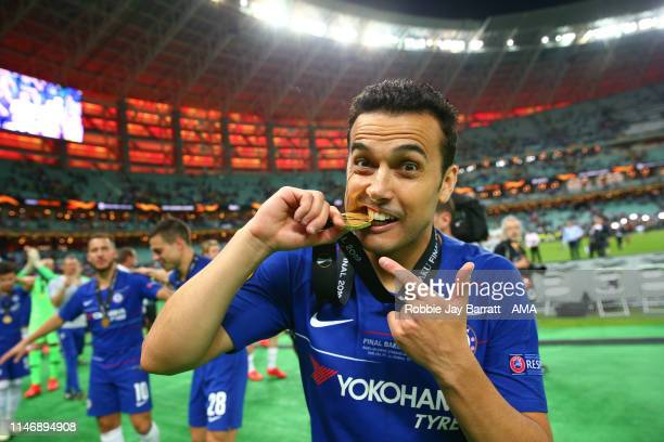 Pedro of Chelsea celebrates with his winners medal after the UEFA Europa League Final between Chelsea and Arsenal at Baku Olimpiya Stadionu on May...