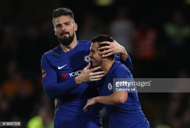 Pedro of Chelsea celebrates with team mate Olivier Giroud after scoring his team's second goal of the game during The Emirates FA Cup Fifth Round...