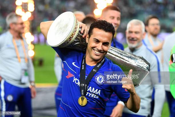 Pedro of Chelsea celebrates with the Europa League Trophy following his team's victory in the UEFA Europa League Final between Chelsea and Arsenal at...