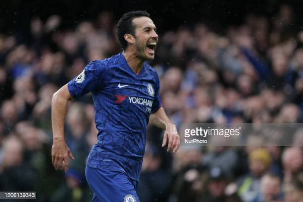Pedro of Chelsea celebrating his teams second goal during the Premier League match between Chelsea and Everton at Stamford Bridge, London on Sunday...