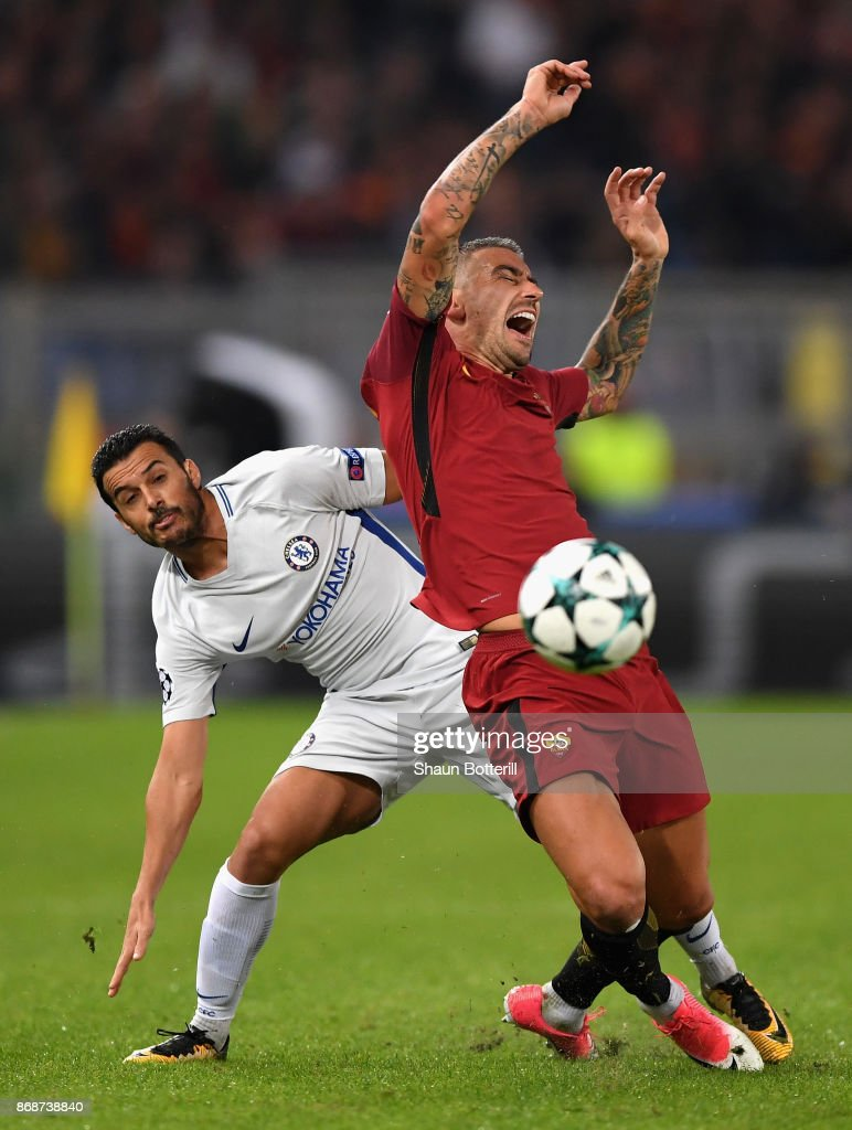 Pedro of Chelsea challenges Aleksandar Kolarov of AS Roma during the UEFA Champions League group C match between AS Roma and Chelsea FC at Stadio Olimpico on October 31, 2017 in Rome, Italy.