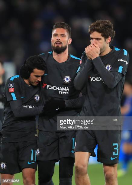 Pedro of Chelsea congratulated by team mates Olivier Giroud and Marcos Alonso during the Emirates FA Cup Quarter Final match between Leicester City...