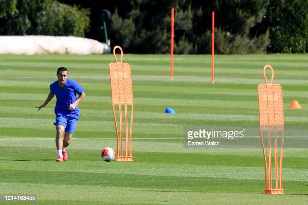 Pedro of Chelsea during a self isolating small group training session at Chelsea Training Ground on May 20 2020 in Cobham England