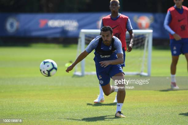 Pedro of Chelsea during a training session at Chelsea Training Ground on July 16 2018 in Cobham England