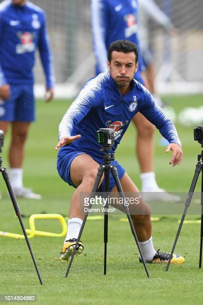 Pedro of Chelsea during a training session at Chelsea Training Ground on August 10 2018 in Cobham England
