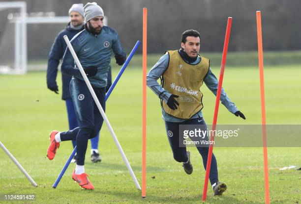 Pedro of Chelsea during a training session at Chelsea Training Ground on February 13 2019 in Cobham England
