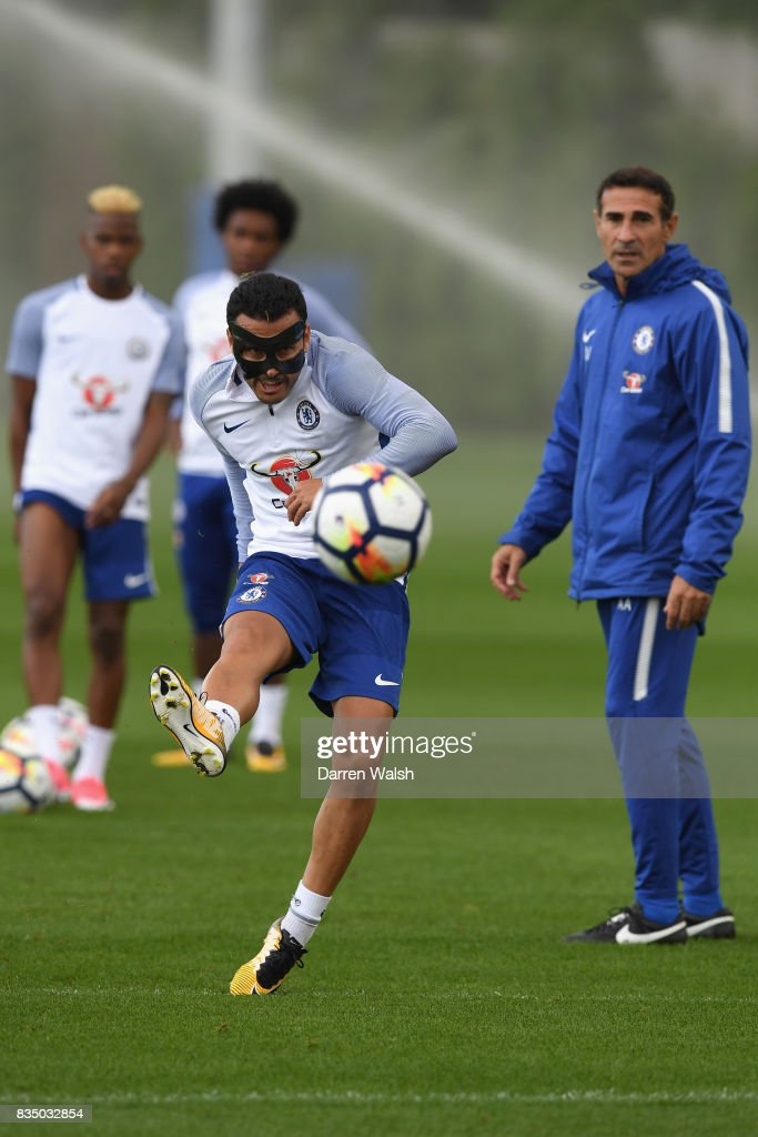 Pedro of Chelsea during a training session at Chelsea Training Ground on August 18, 2017 in Cobham, England.