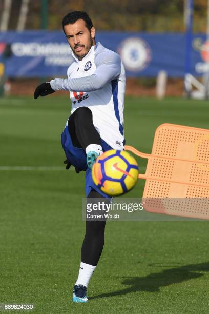 Pedro of Chelsea during a training session at Chelsea Training Ground on November 3 2017 in Cobham England