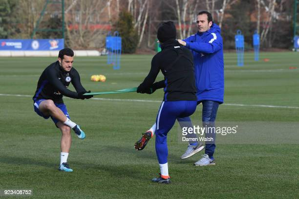 Pedro of Chelsea during a training session at Chelsea Training Ground on February 23 2018 in Cobham United Kingdom