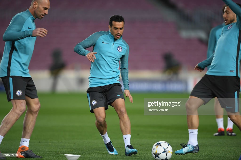 Pedro of Chelsea during a training session at Nou Camp on March 13, 2018 in Barcelona, Spain.