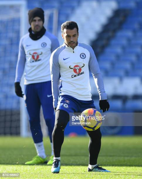 Pedro of Chelsea during a training session at Stamford Bridge on November 17 2017 in London England