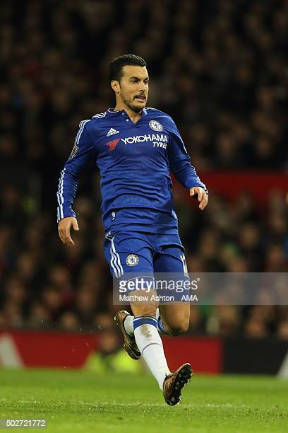 Pedro of Chelsea during the Barclays Premier League match between Manchester Untied and Chelsea at Old Trafford on December 28 2015 in Manchester...