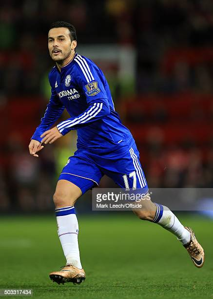 Pedro of Chelsea during the Barclays Premier League match between Manchester United and Chelsea at Old Trafford on December 28 2015 in Manchester...