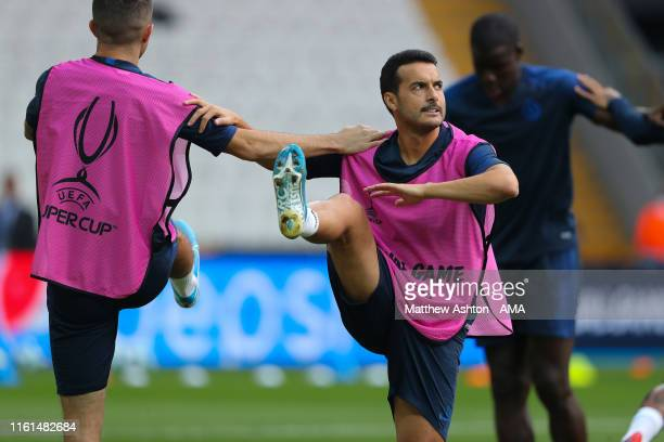 Pedro of Chelsea during the Chelsea training session ahead of the UEFA Super Cup Final between Liverpool and Chelsea at the Vodafone Arena on August...