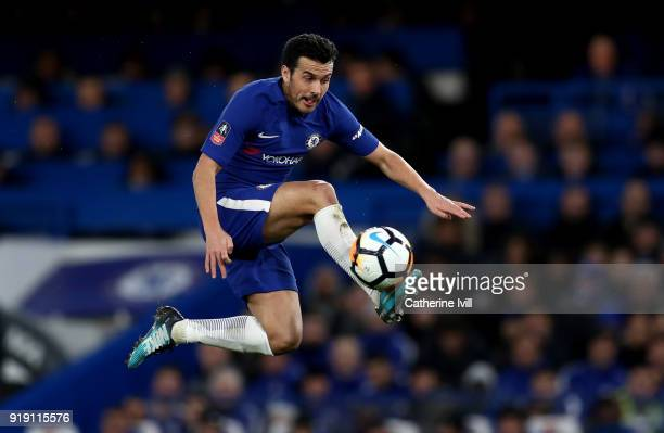 Pedro of Chelsea during The Emirates FA Cup Fifth Round match between Chelsea and Hull City at Stamford Bridge on February 16 2018 in London England
