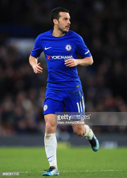 Pedro of Chelsea during the Emirates FA Cup Third Round Replay match between Chelsea and Norwich City at Stamford Bridge on January 17 2018 in London...