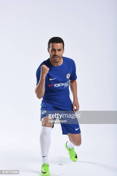 Pedro of Chelsea during the New Nike Kit Photoshoot at Chelsea Training Ground on April 18 2017 in Cobham England