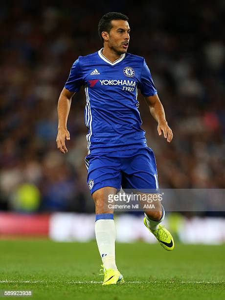 Pedro of Chelsea during the Premier League match between Chelsea and West Ham United at Stamford Bridge on August 15 2016 in London England