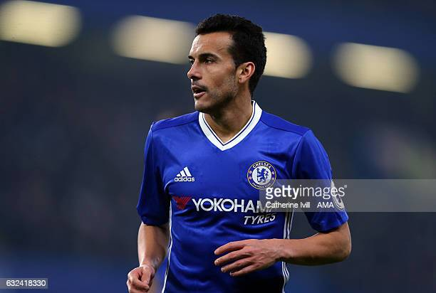 Pedro of Chelsea during the Premier League match between Chelsea and Hull City at Stamford Bridge on January 22 2017 in London England