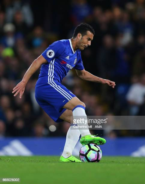Pedro of Chelsea during the Premier League match between Chelsea and Manchester City at Stamford Bridge on April 5 2017 in London England