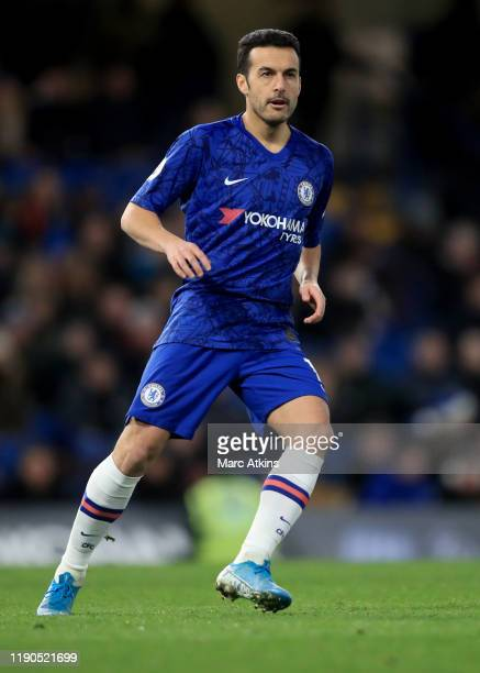 Pedro of Chelsea during the Premier League match between Chelsea FC and Southampton FC at Stamford Bridge on December 26, 2019 in London, United...