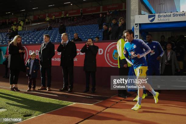 Pedro of Chelsea exits the players tunnel prior to the warm up during the Premier League match between Burnley FC and Chelsea FC at Turf Moor on...
